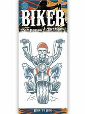 BORN TO RIDE BIKER TATTOO 1 PC TEMPORARY FAKE BODY ART GAG NOVELTY TRICK HOBBY