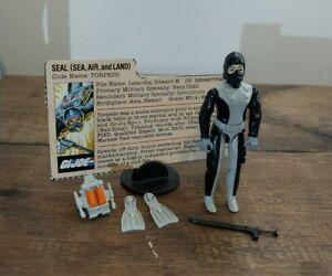 GI Joe 1983 Torpedo *Seal* Complete W/ File Card No Cracks VERY NICE