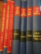 1877-87 The Laws of the State of New Hampshire Antique Law Books Lot