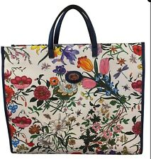 NWT GUCCI Blue navy Leather FLORA white canvas floral print Large TOTE BAG $1800