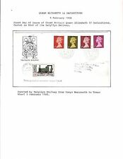 1968 TOPICAL RAILROAD GREAT BRITAIN FDC QE II WALES DEFINITIVES