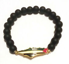 Unisex Palestine Gold Metal Flag black beaded Bracelet Fashion Map Wristband