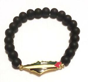Unisex Palestine handmade Gold Metal Flag black beaded Bracelet Map Wristband