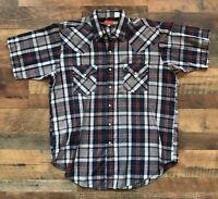 Ely Plains Pearl Short Sleeve Shirt Western Cowboy Men's Large Plaid Pearl Snaps