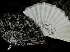 2 SPANISH BLACK WHITE SILVER FLORAL LACE HAND FAN DANCE WEDDING FLEMENCO PARTY