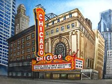 Watercolor Painting Illinois Chicago Theatre City Downtown Street 5x7 Art