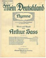 """"""" Mein Deutschland """" Hymne von Arthur Sass alte Noten übergroß"""