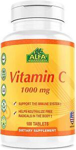 Alfa Vitamins Vitamin C 1000 mg, 100 Tablets - USA Import