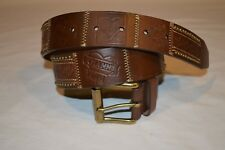 Gianni Bini Brown Leather Patchwork Belt size M 33 Hearts Crowns Roller Buckle