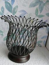 Estate Large Wrought Iron Basket Bowl Vase Decor Wooden Pedestal base Pineapple