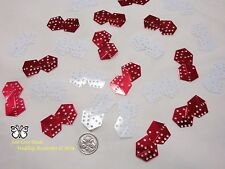 Wedding Table Scatters Foil Confetti Dice - Red & White
