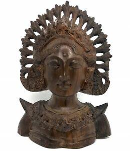 Bali Indonesia Hindu Goddess woman Hard-Wood Handmade Sculpture vintage Balinese