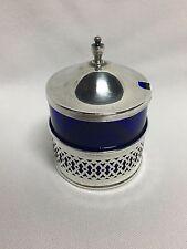 Webster Sterling Silver Cobalt Blue Glass Mustard Pot Jar