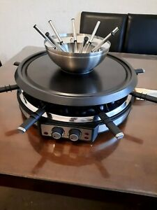 Severin RG 2348 Raclette Grill Fondue Combination - 1900 W, Brushed Stainless