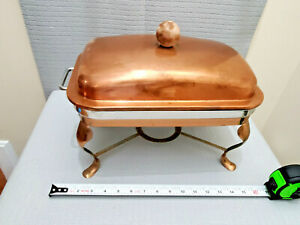 Vintage Metal Brass Copper Chaffing Dish No Burner