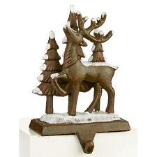 More details for christmas 18cm stocking hanger holder fireplace mantle hooks decoration - 1 deer