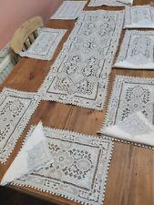 More details for antique vintage table linen set runner mats set hand embroidery