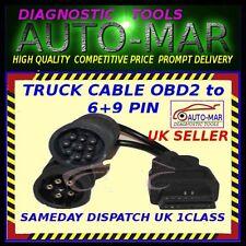 VOLVO Camion DAF Mack Cummins 6 +9 pin per OBD2 Adattatore Diagnosi Cavo