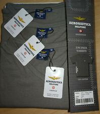 AERONAUTICA MILITARE Herren 3 x T-Shirt mit V-Ausschnitt Grau Gr. M ( UK40 ) NEU