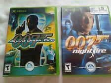 007: NightFire + Agent Under Fire Original Xbox James  Bond Game Lot Compatible.
