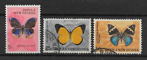 PAPUA & NEW GUINEA POSTAL ISSUE, 3 USED DEFINITIVES 1966, BUTTERFLIES