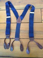 Vintage Portfolio Perry Ellis Silk Leather Loop Navy Blue Suspenders Adjustable