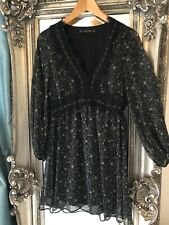 ZARA Beatiful Floral Lace Trimmed Dress Size XS