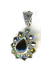 925 Sterling Silver Black Onyx & Marcasite Pendant  Overall Length 27mm 1""