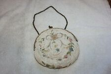 Vintage Beaded Longchamps Round Evening Purse - Floral Made in France