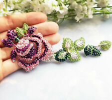 "Brooch Pin Pink/Purple Rhinestone Crystal 5.3"" Luxurious Woman Ros