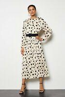 KAREN MILLEN Spot Print Pleated Button Midi Dress, 12 UK (M) - BNWT - RRP £145