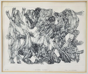 1960s Surrealist Etching Intertwined Nude Male Bodies sgnd A.P. John Deckard PA