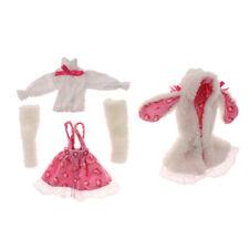 Rabbit Ears Coat & Long Sleeves Shirt w/ Skirt Stockings for 1/6 BJD SD Doll