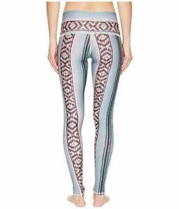 Teeki Women's Leggings Border Towns Blue Geometric S Pilates Fitness Gym USA