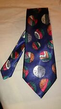 Men's Tie Handmade in Navy Blue with Abstract Circle Pattern