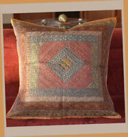 """Handmade Silk Embroidered Border 24""""  Square Buff Color Pillow Cover from India"""