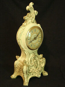 WORKING Antique Cast Iron Victorian Style Electric Mantle Clock