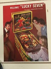"""LUCKY SEVEN"" 1978 VINTAGE PINBALL PROMO BROCHURE IN PLASTIC COVER-MINT"