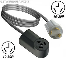 4FT DRYER EXTENSION CORD FEMALE 10-30R 3-PRONG RECEPTACLE MALE 10-30P 3-PIN PLUG