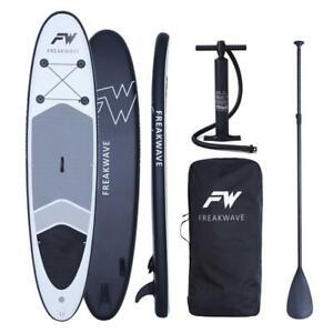 FREAKWAVE SUP Board Set aufblasbar 320x76x15cm Alu-Paddel Pumpe für Einsteiger