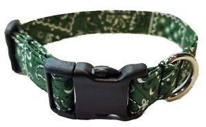 Dark Hunter Green Bandana Dog Collar cowboy country western puppy St Patricks da