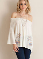 ENTRO Boho Off Shoulder Flowy Summer Top Long Sleeve Hippie Gypsy Blouse Peasant