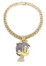 Iced Out Lil Uzi Vert Pendant Gold Miami Cuban Link Choker Chain Necklace Hiphop