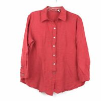 Chico's Womens Size 3 Long Sleeve Button Down Linen Blend Blouse Top