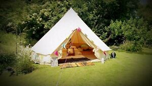 3M Canvas Bell Tent Glamping Hunting Tent Yurt Camping Family Tent Stove Jack