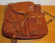 vintage ancien SAC à DOS MILITAIRE SUISSE CUIR leather bag BACKPACK tasche LEDER