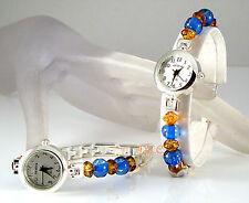 Geneva Silver Plated Deco Victorian Amber & Blue Ladies Slim Dress Wrist Watch
