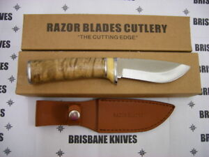 RAZOR BLADES RED STAG BURL WOOD SKINNING HUNTING KNIFE