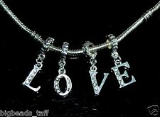 "A set of ""LOVE"" rhinestone alloy beads, fit European style snake charm chains"