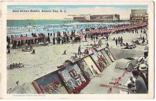 SAND ARTIST'S Exhibit DONKEY CAR Atlantic City NJ Postcard Vintage Auto 1927 Art